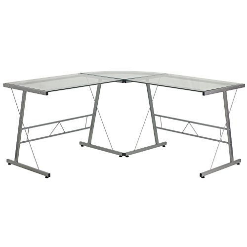 - Flash Furniture Glass L-Shape Computer Desk with Silver Frame Finish
