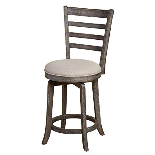 The Mezzanine Shoppe 81024GRY Ashton Wooden Ladderback Kitchen Swivel Stool, 24
