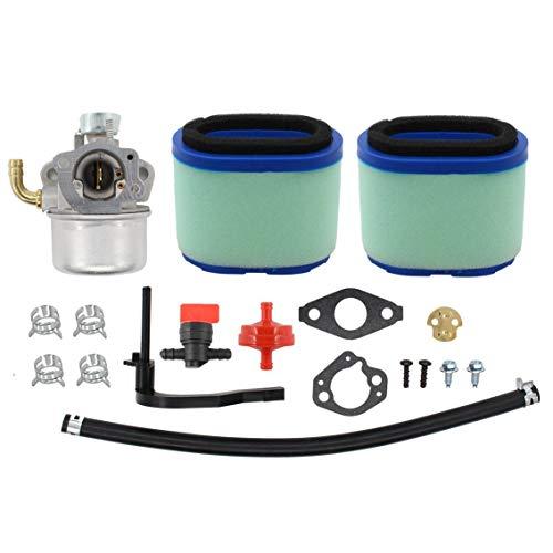 Hippotech Carburetor with 2 PCS Air Filter Fuel Hose for Briggs & Stratton 591925 698479 693518 698475 Engine Motor Powered Chipper Shredder Craftsman Garden Tiller