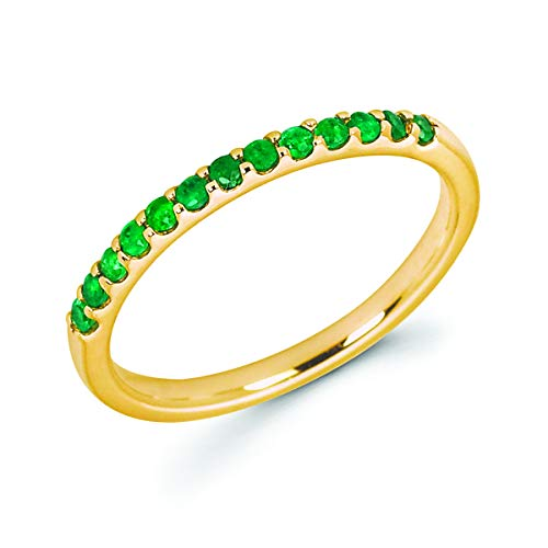 (14K Yellow Gold 1/5 Cttw Genuine Emerald Stackable 2MM Wedding Anniversary Band Ring - May Birthstone, Size 9)