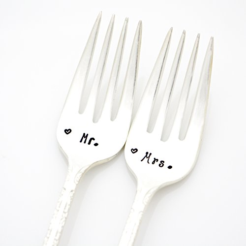 Mr. and Mrs. Wedding Forks. Mixed 'His and Her' Fonts with Hearts. Hand Stamped Vintage Silverware by Milk & Honey. Part of the Martha Stewart American Made Market.