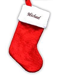 "Red Plush Embroidered Christmas Stocking Measure 19"" Long, Can Be Personalized"