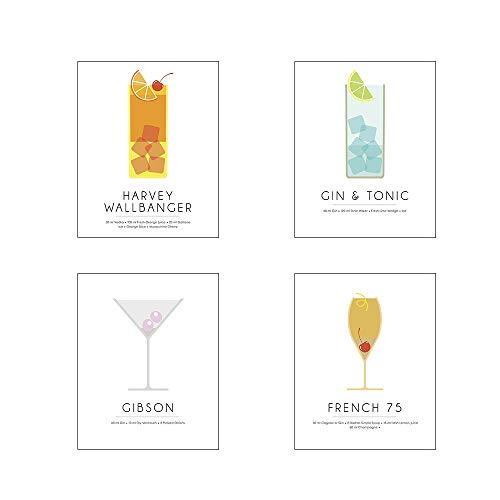 Harvey Wallbanger, Gin and Tonic, Gibson & French 75 by Studio Grafiikka, 4 Piece Art Print Set, 8 X 10 Inches Each, Cocktail Word ()