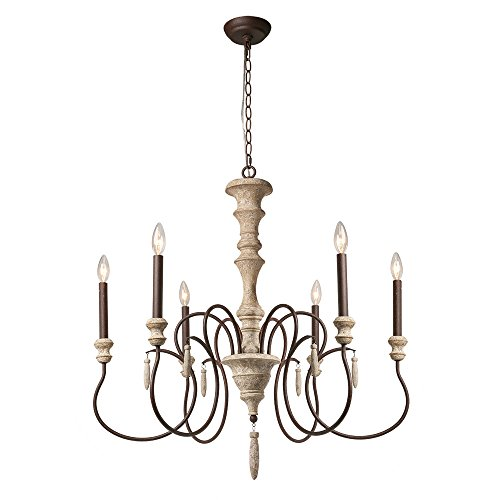 LALUZ 6 French Country Wood Chandeliers Farmhouse Pendant Lights for Living Room, A03294