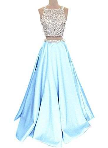 2018 Long Pockets with Dresses Callmelady Women Two for Sky Blue Satin Prom Piece 8TnxRYXwqY