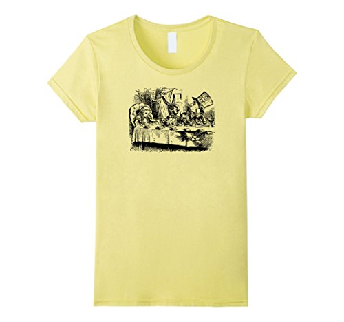 [Womens Big Texas Alice in Wonderland Mad Hatters Tea Party T-Shirt Small Lemon] (Female Mad Hatter)