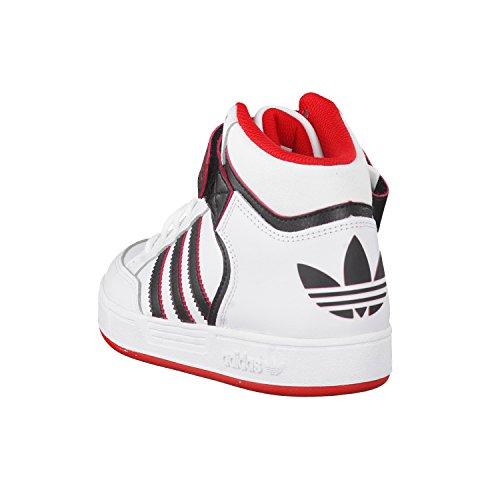 adidas Unisex-Kinder Varial Mid J Skaterschuhe, Bunt Weiß / Schwarz / Rot (Ftwbla / Negbas / Scarlet)