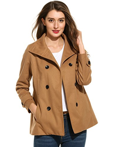 Meaneor Womens Peacoat Breasted Overcoat