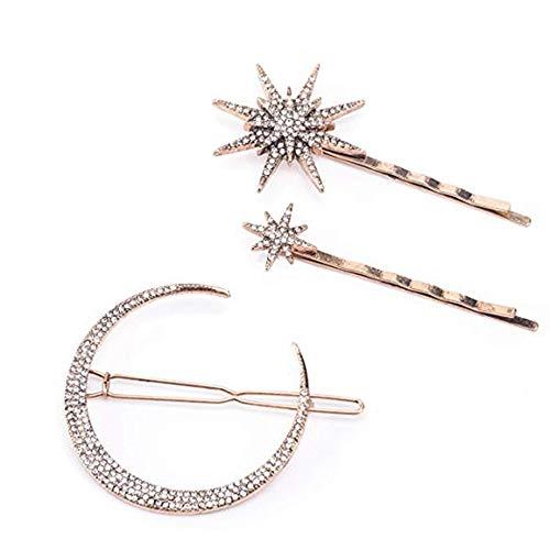 SOTICA - Pasadores de pelo para mujer, 3 piezas de bronce estrellas y luna, horquillas laterales para el pelo, accesorios para el pelo, joyeria de moda, colgante con diamantes de aleacion para mujeres