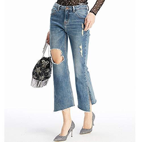Vita A Xl Spacco Cowboy Mvguihzpo Jeans Blu M Punte Donna Nuovi Buchi Irregolare Jeans Nove OO4qX81