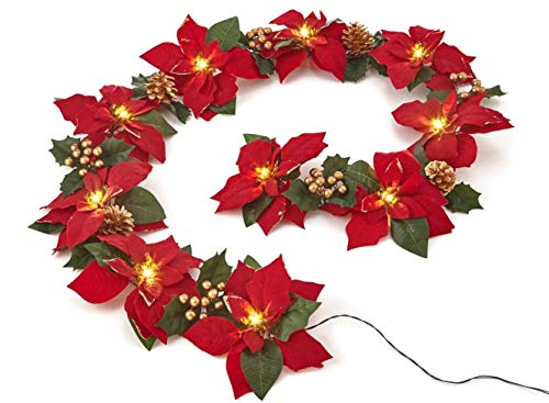 Homeseasons Pre-Lit Velvet Artificial Poinsettia 6 feet Garland with Red Berries and Holly Leaves - 3AA Battery Operated Indoor and Outdoor Use (1 Pack, Red Glittered)