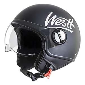 Westt® Classic · Casco Moto Jet Abierto Estilo Vintage Motocicleta Ciclomotor y Scooter · Cascos de moto Mujer y Hombre en Negro Mate · ECE Homologado