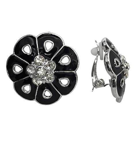 r Tone Clip on Lightweight Rhinestone Centers Formal Fancy Casual Earrings (Black) ()