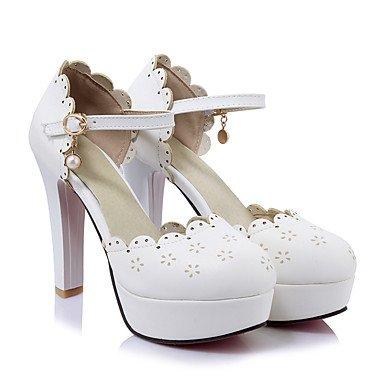 Talones de las mujeres Primavera Verano Otoño zapatos del club de la PU de la Oficina Boda Carreras y noche tacón grueso hebilla Rosa Blanco Beige White