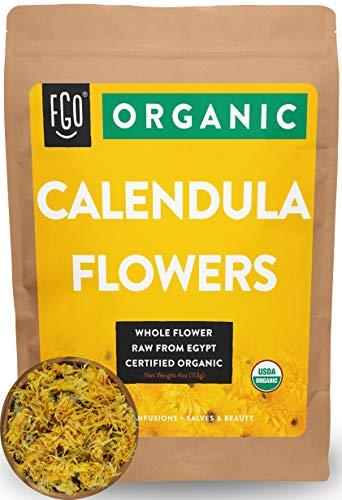 Organic Calendula Flowers | Whole | 16oz Resealable Kraft Bag (1lb) | 100% Raw From Egypt | by Feel Good Organics (Marigold Organic)