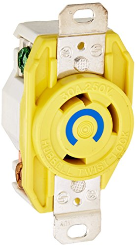 Hubbell HBL26CM20 Locking Receptacle, 30 amp, 250V, L6-30R, (30r Locking Flush Receptacle)