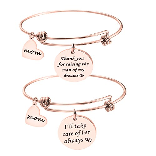 Gzrlyf Mother In Law Bracelet Thank You For Raising The Man Of My Dream Bracelet Wedding Gift (rose gold set (Gold Mother)