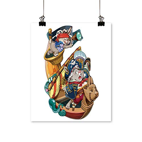 Art Picture Colorful Canvas Print Cartoon Hares Pirates are Going to Attack The Ship to take Production Invitation Card Paintings for Living Room,24