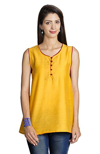 MOHR Women's Sleeveless Tunic Shirt X-Large Dark Yellow by MOHR - Colors of India