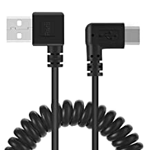 Coiled USB Type C Cable - Rerii 90 Degree, USB Type C to USB A 2.0, Data Sync and Charging Cable, Cord for Google Pixel, Nexus 5X 6P, HTC 10, LG G5 V20, all other Type-C Devices