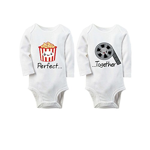 YSCULBUTOL Baby Bodysuits for Unisex Boys Girls Long Sleeve White Twin Clothes Boy Girl Baby Shower Gift Perfect Together Popcorn and Movie(7-9months)