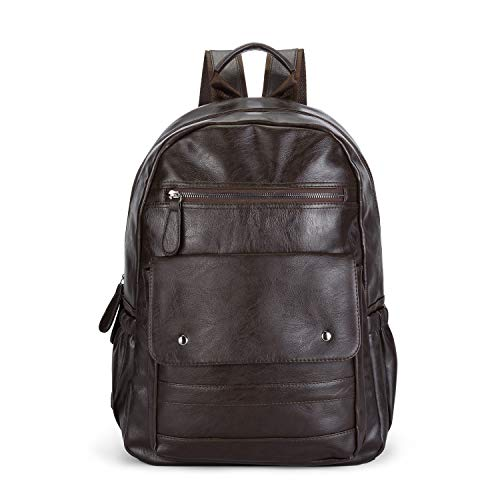 Longess PU Leather Backpack, 17.7 inch Super-Large Capacity Business Soft Leather Anti Theft Backpack for Men School College Bookbag Laptop Computer Bags, Leather Travel Backpack (Brown) - Backpack Leather Tech