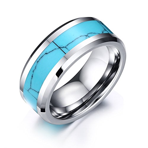 White Tungsten Ring Mens Wedding Band Turquoise Inlay High Polished Flat Top Beveled Edge,8mm Width