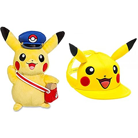 Pokemon Center Special Delivery Pikachu Plush and Pokemon Pikachu Hat, Pokemon Pikachu Stuffed Animal and Pokemon Hat
