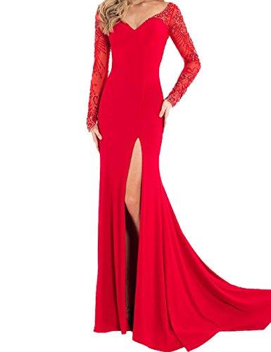 Topquality2016 Damen Lange ?rmel V-Ausschnitt Hoher Schlitz Ballkleider Abendkleider Abschlussballkleid Parteikleid Frauen Kleider Rot