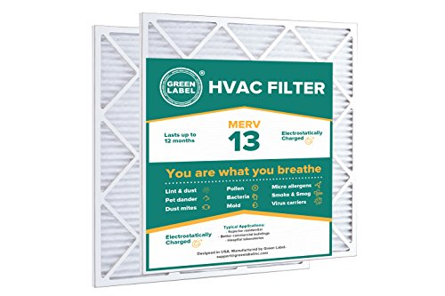 Green Label HVAC Air Filter 24x25x1, AC Furnace Air Ultra Cleaning Filter MERV 13 - Pack of 2