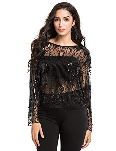 Blouse Bead Embellished (PrettyGuide Women's Sequin Blouse See Through Party Tops Beaded Sparkly Shirts L Black)