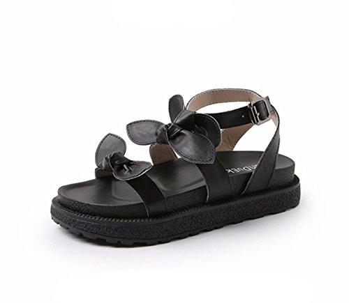 Étudiant 34 Été Abricot Black Chaussons Épaisses Bow Femmes Sandales Grande Semelles Chaussures Taille à Littéraire 43 DANDANJIE Rétro Noir EqI1pwaS
