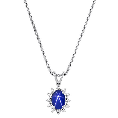 Diamond & Blue Star Sapphire Pendant Necklace Sterling Silver or 14K Yellow Gold Plated Silver ()