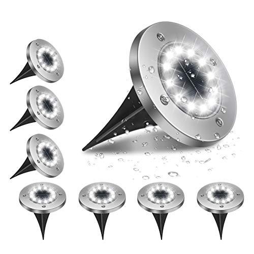Flintronic Vloerlampen op zonne-energie, 12 leds, solarlampen voor buiten, koudwit, 6000 K, IP65 waterdicht…