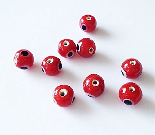 100 Opaque Red 5mm Small Glass Evil Eye Beads for Jewelry Ma