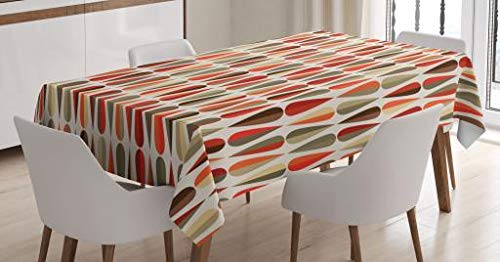 Ambesonne Retro Decor Tablecloth by, Home Decor 60s 70s Style Geometric Round Shaped Design with Warm Colors Print, Dining Room Kitchen Rectangular Table Cover, 60 W X 90 L Inches, Multicolor