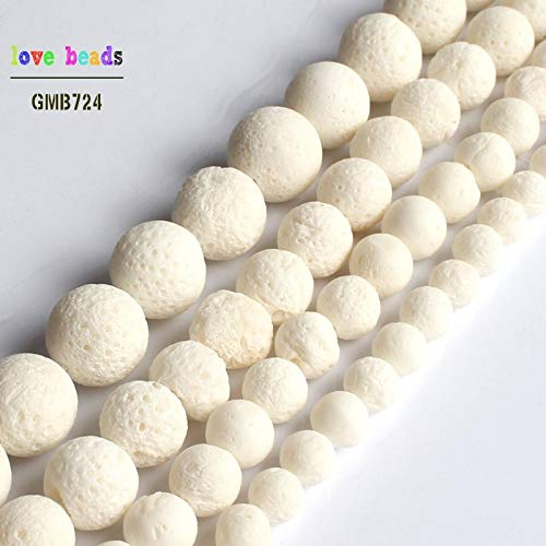 Calvas Natural White Sponge Coral Round Spacer Beads for Jewelry Making Beaded Bracelet DIY Jewelry 15