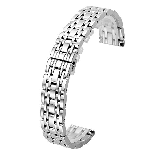 Link Silver Wrist Watch - Top Plaza 18MM Silver Solid Stainless Steel Straight End Link Bracelet Wrist Watch Band Strap Replacement Double Push Spring Butterfly Deployment Clasp 7 Rows Metal Strap