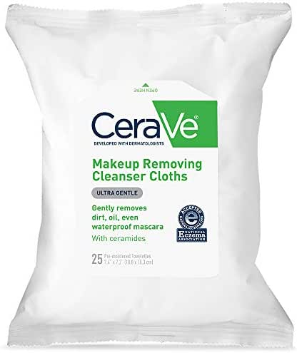 CeraVe Face & Eye Makeup Remover Wipes   25 Count   Gently Removes Dirt, Oil, & Waterproof Makeup   Fragrance Free & Non-Irritating