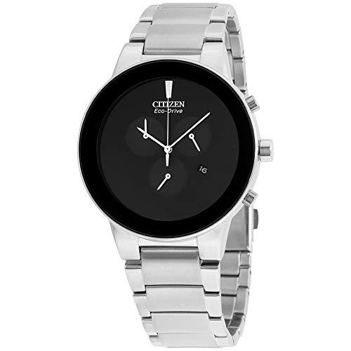 Citizen Eco-Drive Axiom Black Dial SS Chronograph Quartz Men's Watch AT2240-51E