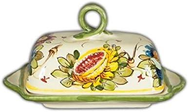 Fiori 66.Amazon Com Hand Painted Italian Ceramic Fiori Butter Dish