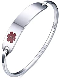 "(Free Engraving) Stainless Steel Medical Alert ID Bangle Bracelet,Silver,7.5"""
