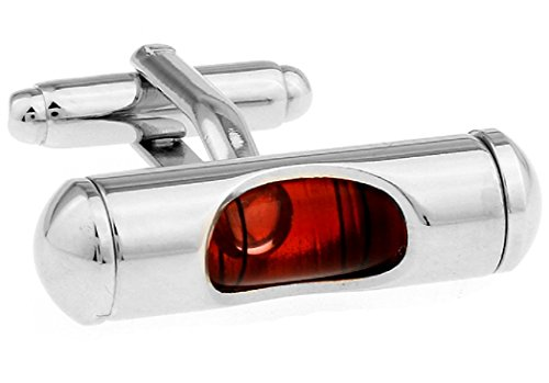 MRCUFF Level Red Liquid Construction Pair Cufflinks in a Presentation Gift Box & Polishing Cloth