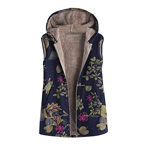Mysky Winter Women Classic Floral Print Pocket Vest Outwear Ladies Casual Faux Fur Plus Size Coat Blue