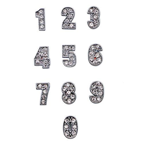 (JETEHO 45 Pcs 8 mm Rhinestone 0-9 Slide Number Charm Pendant Jewelry Making Wristbands Bracelets)