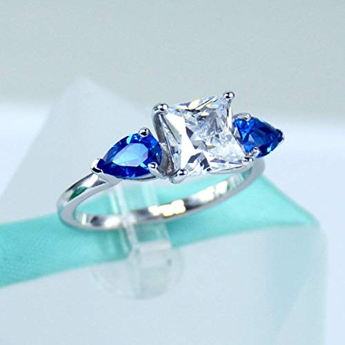 - 2Carat Princess Cut Simulated Diamond, Blue Pear, 925 Sterling Silver Solitaire Ring, Cubic Zirconia Stone, Daily Ring, Engagement Ring, Promise Ring, Women