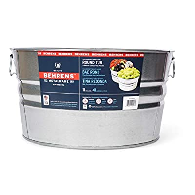 Behrens 1GS 11 Gallon Round Galvanized Steel Tub : Galvanized Buckets : Garden & Outdoor