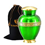 Zeus Sapphire Green Brass Cremation Urn - Beautifully Handcrafted Adult Funeral Urn - Solid Brass Funeral Urn - Affordable Urn for Human Ashes with Free Velvet Bag
