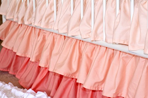 Peach to Coral 3 Tiered Ruffled Crib Skirt (Coral Gradient) by Bold Bedding