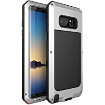 Galaxy Note 8 Case,Bixby Button Water Resistant Shockproof Aluminum Metal Super Anti Shake Silicone Fully Body Protection for Samsung Galaxy Note 8-2017 Newest Released (Silver)